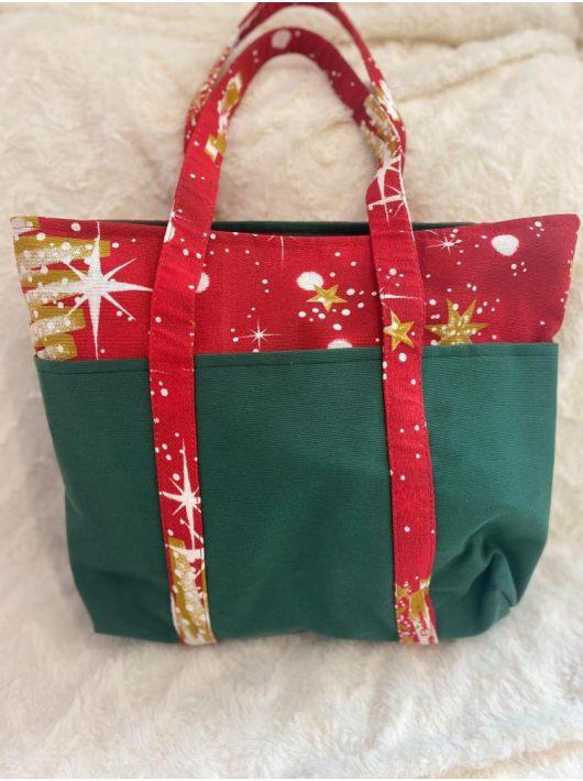 Karácsonyi mintás pamutvászon válltáska / shopping táska, piros-zöld