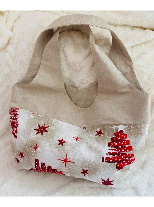 Karácsonyi mintás pamutvászon válltáska / shopping táska, fehér-piros